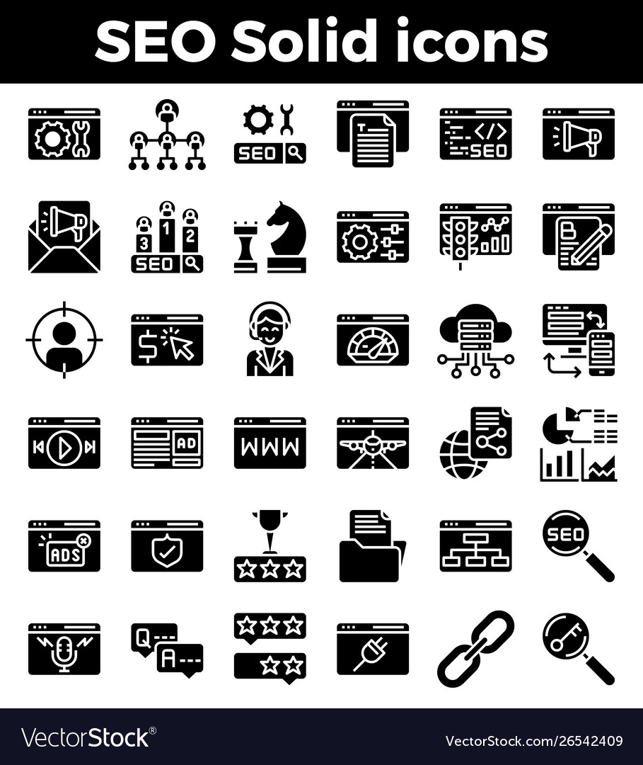 Seo search engine optimization solid icons