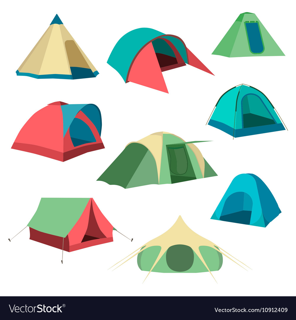 Set of tourist tents Collection of camping tent