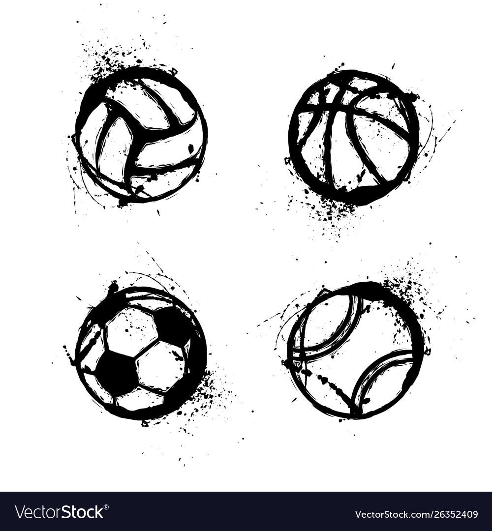Sport grunge balls set