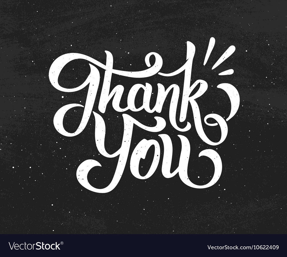 Thank You hand drawn chalk lettering vector image