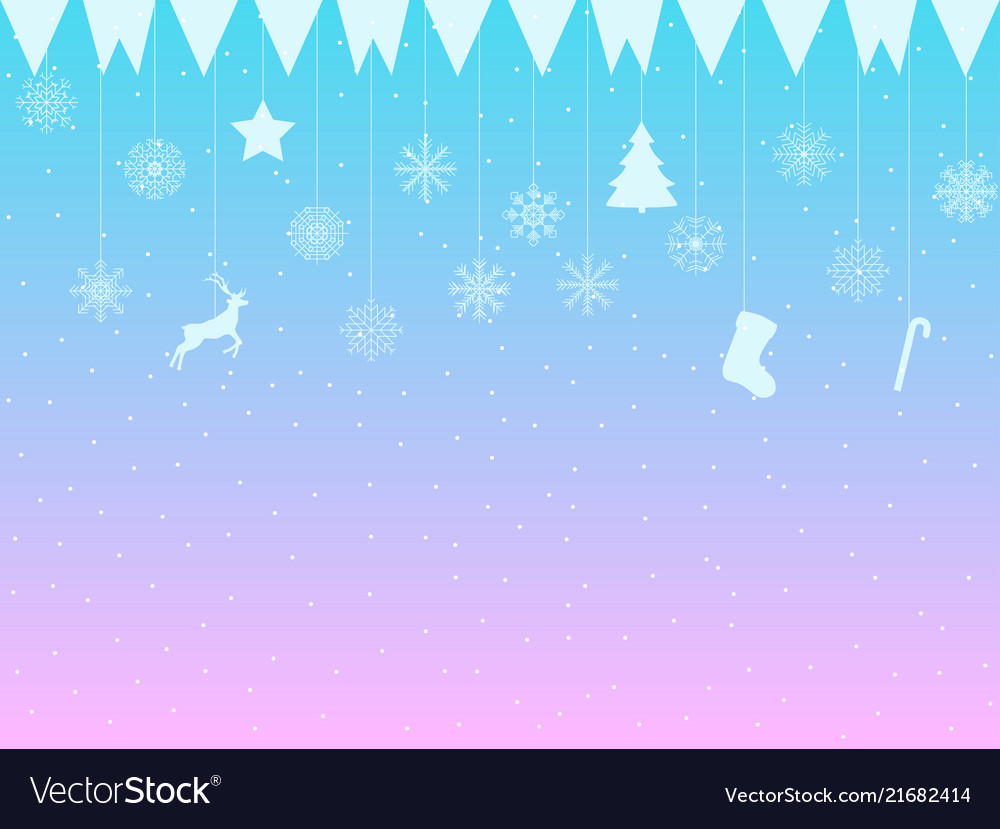 Background with snowflakes hanging snowflakes and