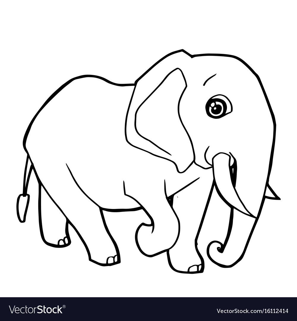 Cartoon cute elephant coloring page Royalty Free Vector