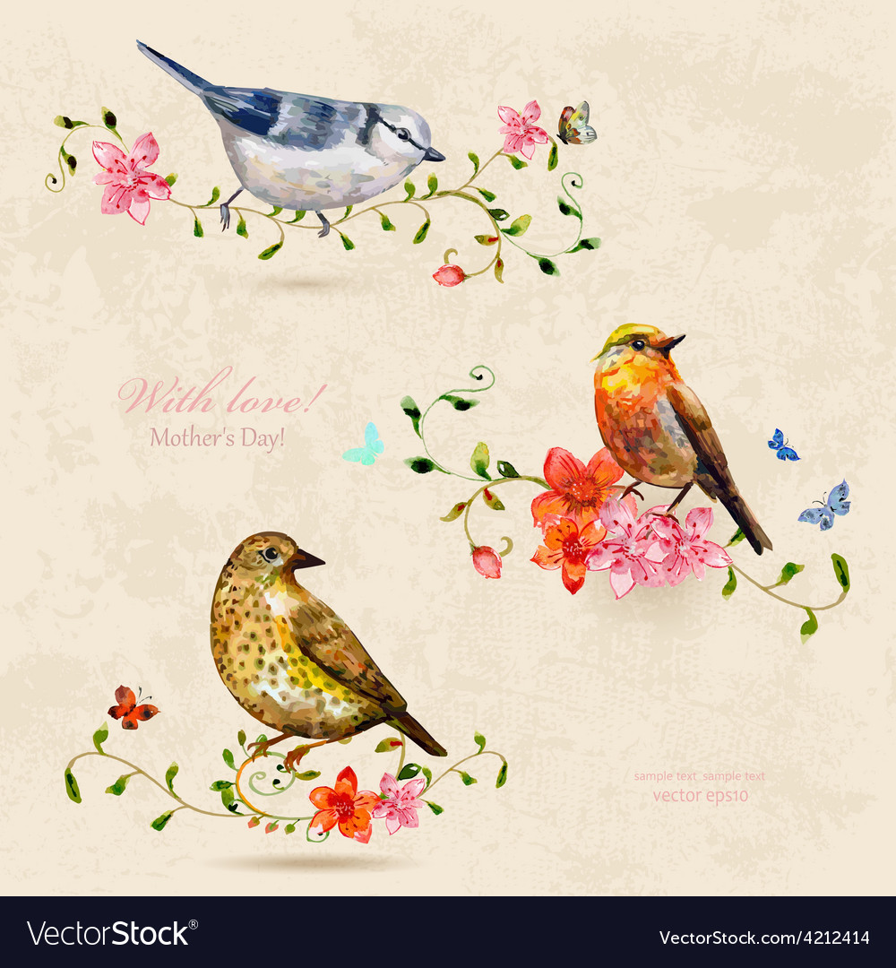 Collection of cute birds watercolor painting