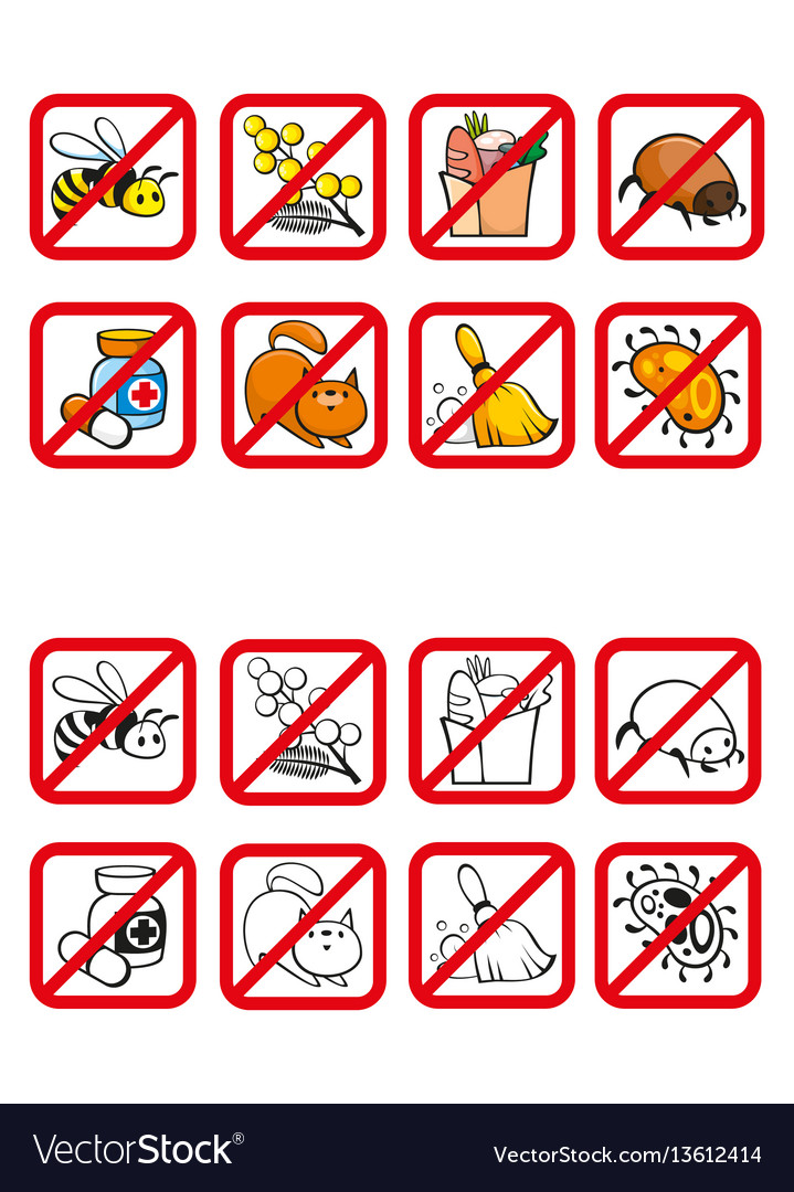 Common allergens warning signs set