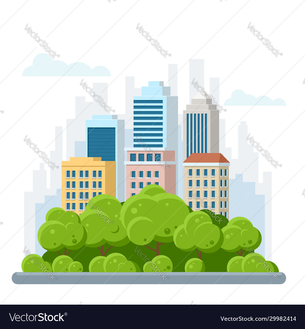 Flat urban landscape with high skyscrapers trees