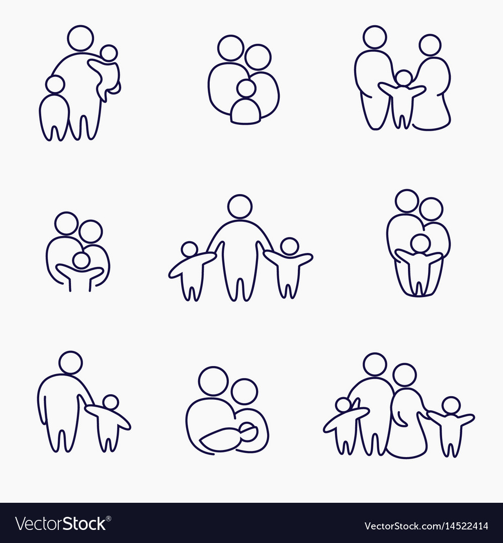 Happy family icons symbols collection linear