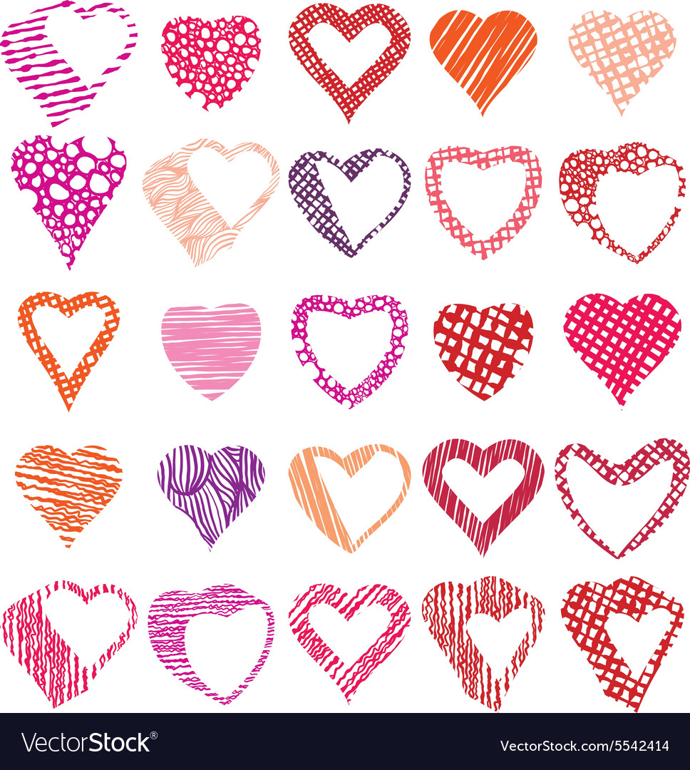 Hearts Symbols Set Different Shapes And Textures Vector Image
