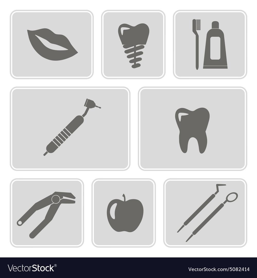 Monochrome icons with dental symbols