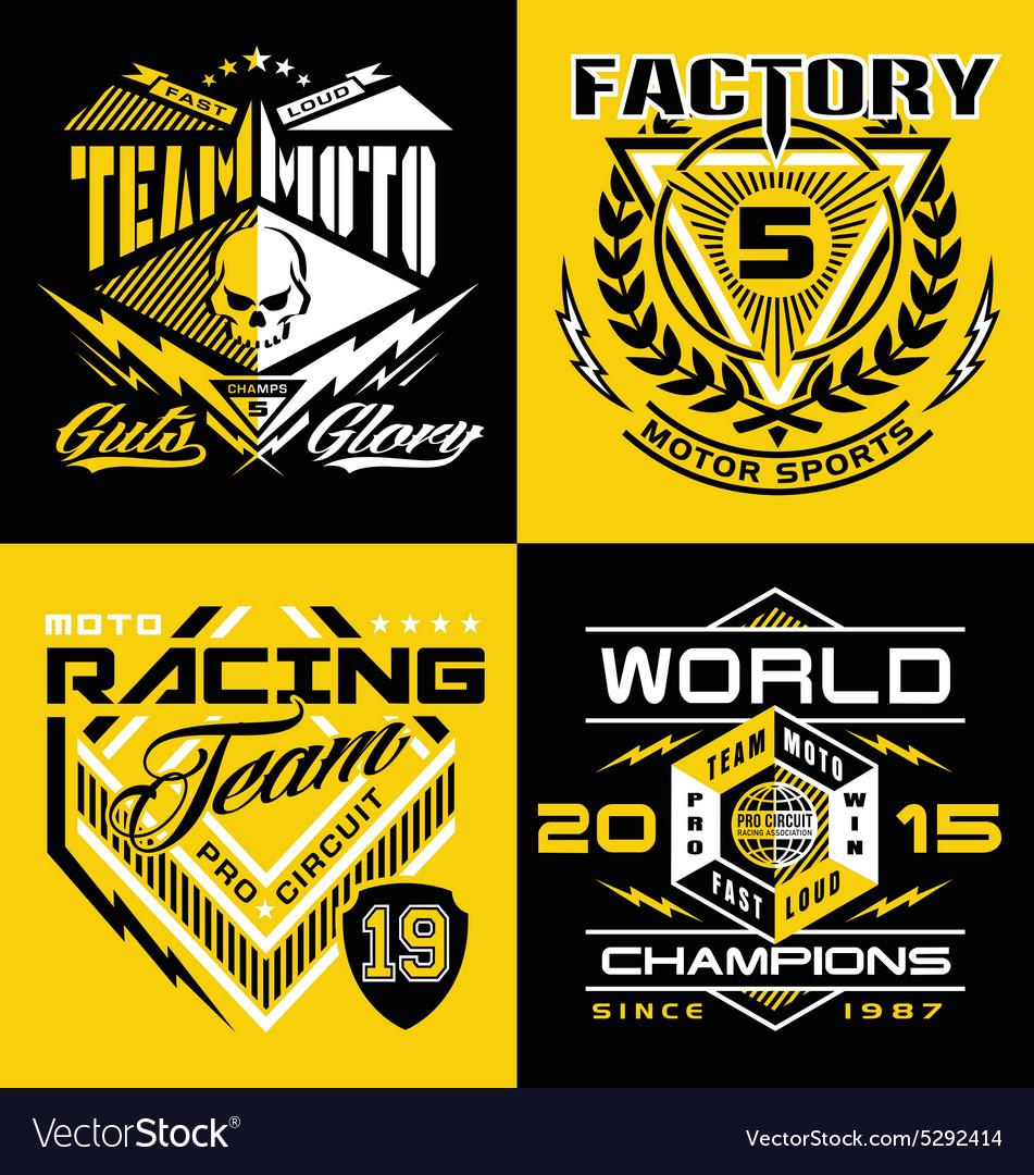 Motocross sports shield emblem set