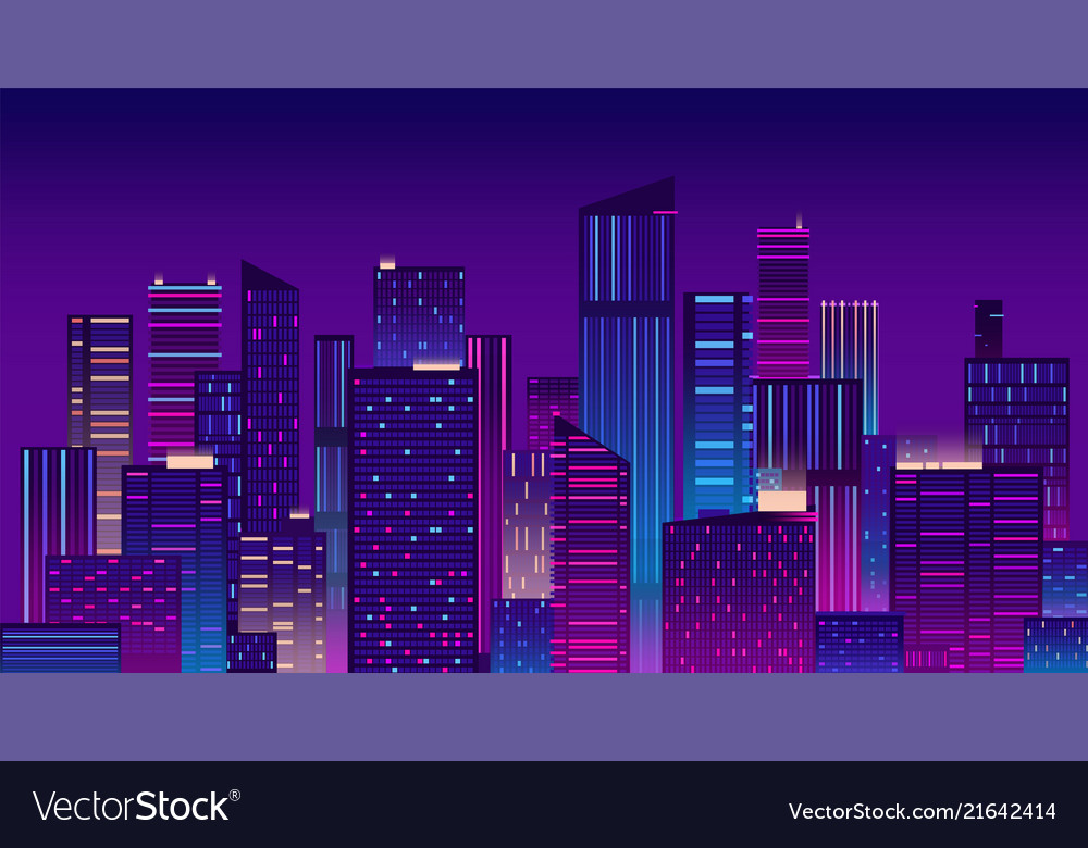 Night city colorful new york urban background