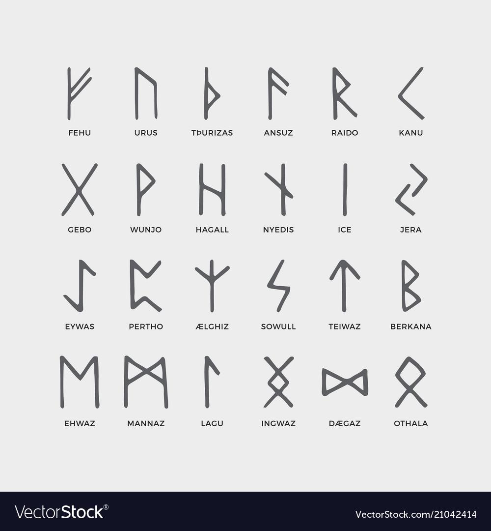 Retro norse scandinavian runes sketch celtic