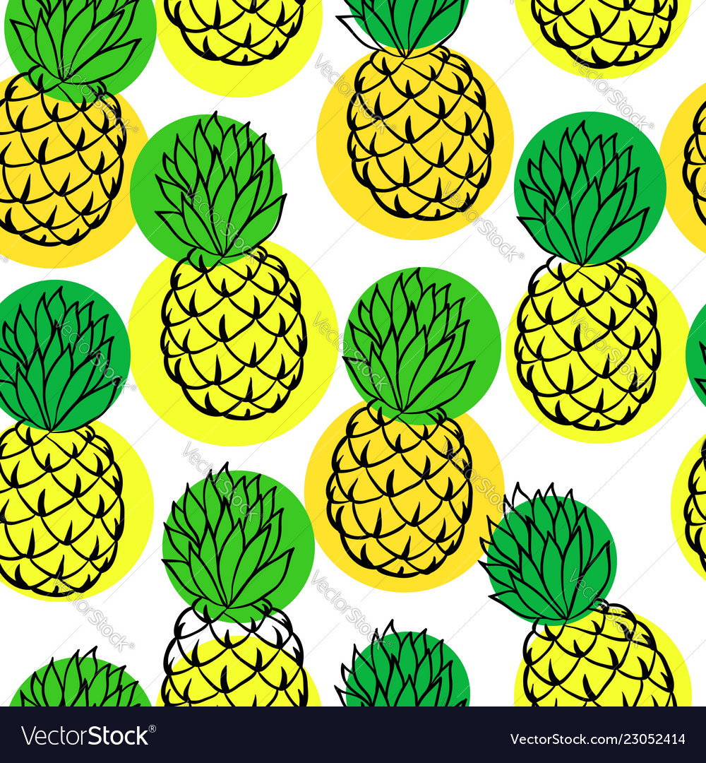 Seamless background with pineapple on white