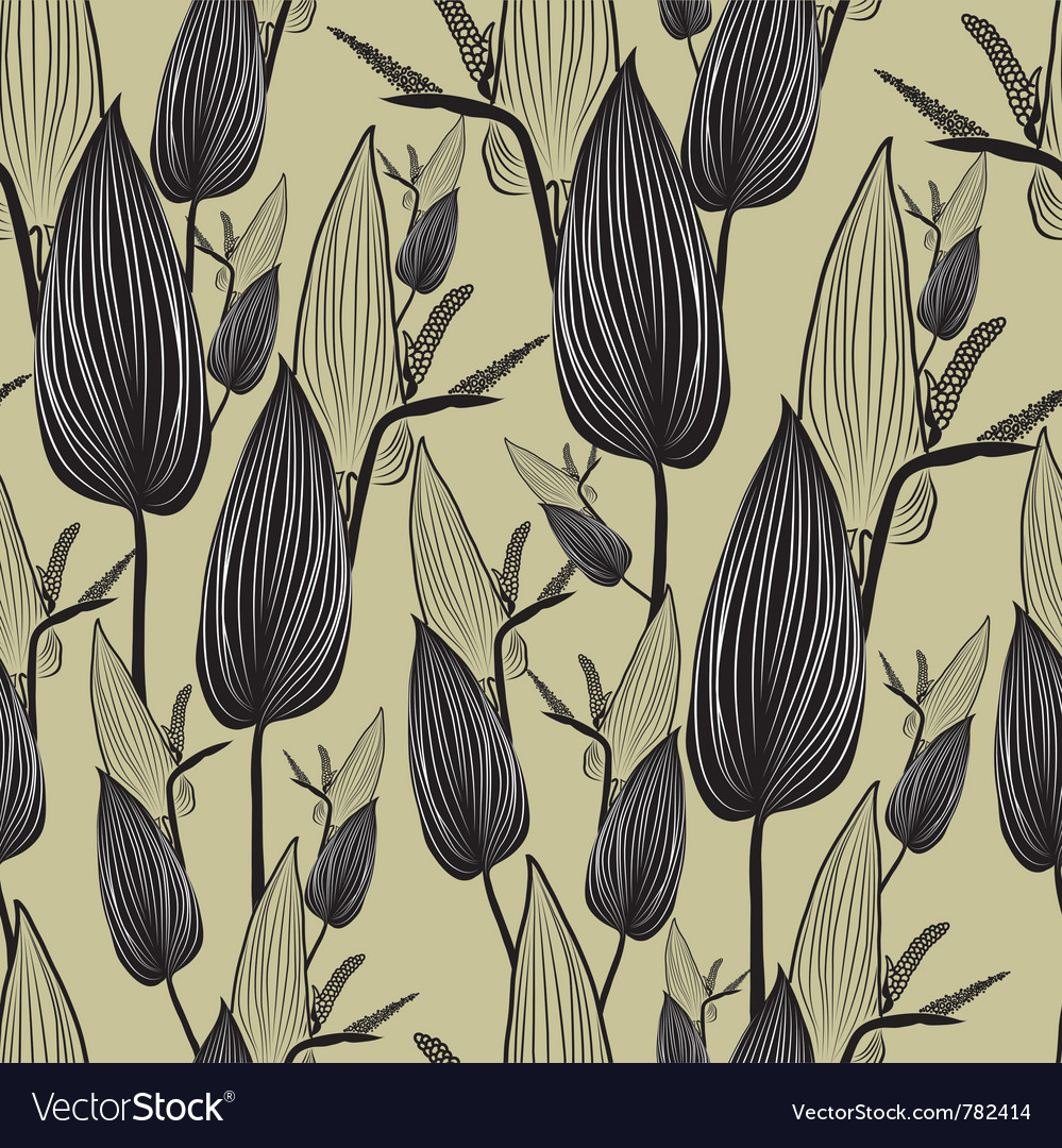 Seamless floral pattern with leafs vector image