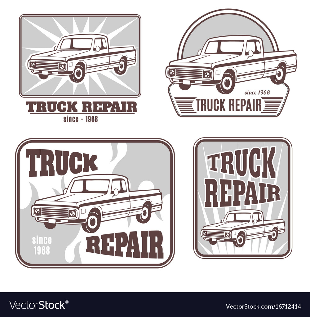 Set of logos with pickup truck