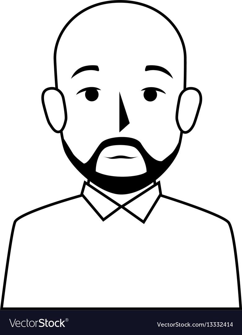 Silhouette Half Body Bald Man With Beard Vector Image