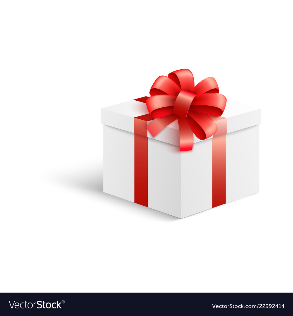 Gift box with bow Wedding Vectorstock White Gift Box With Red Ribbon And Bow In Vector Image
