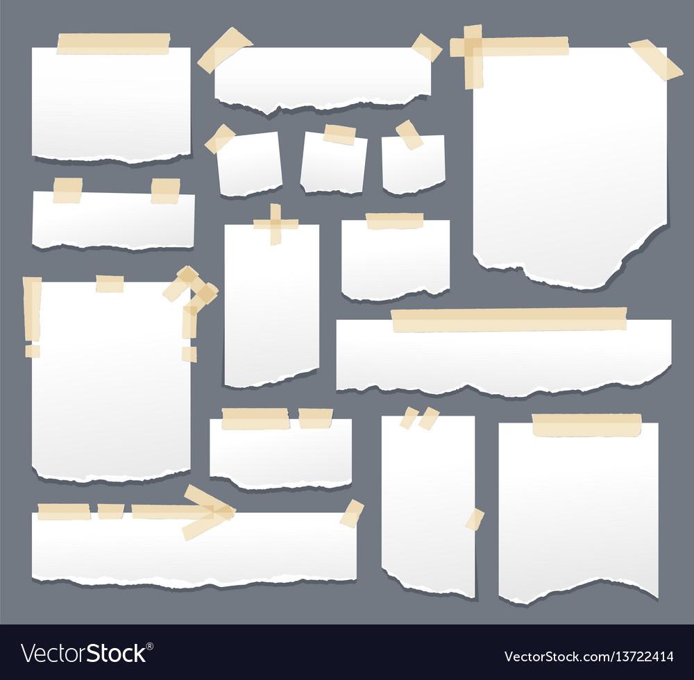White paper sheets with scotch tape set sticky