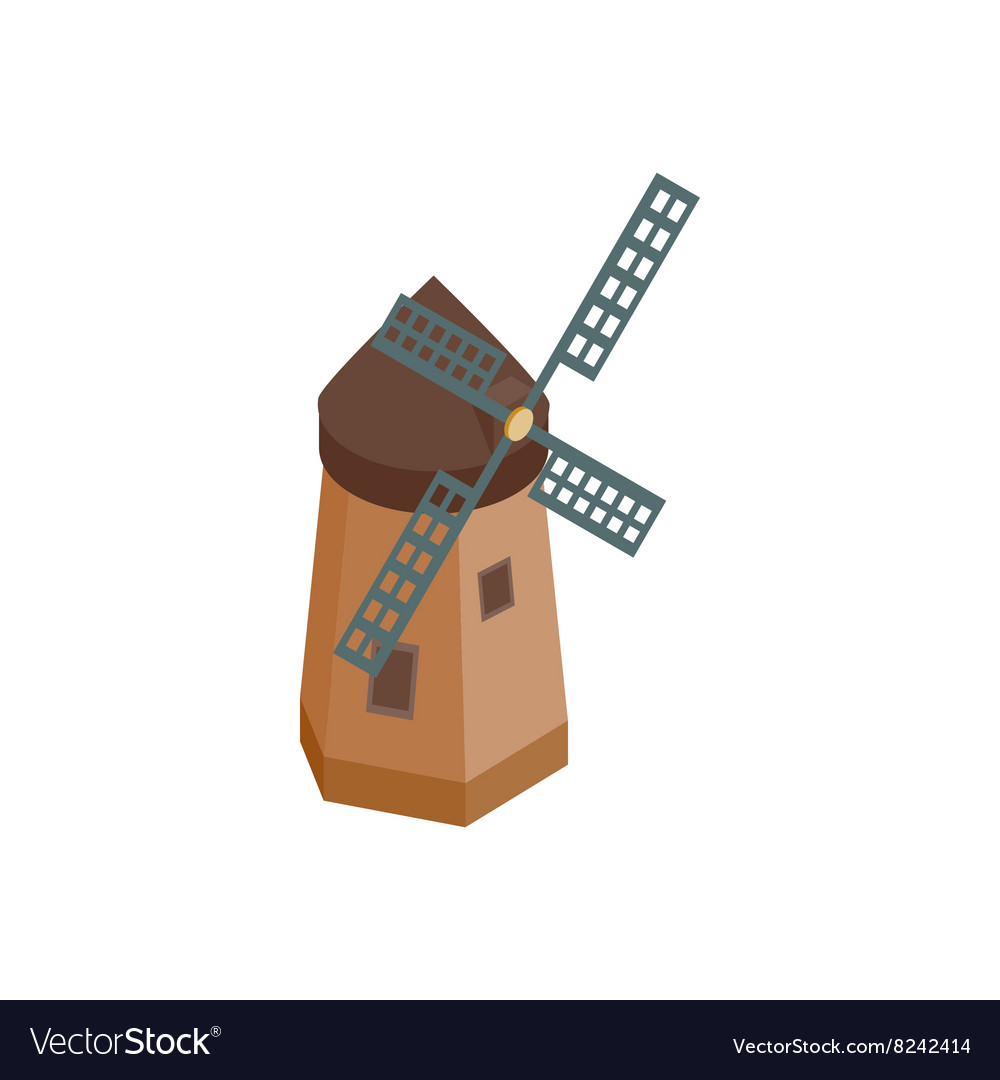 Windmill icon isometric 3d style