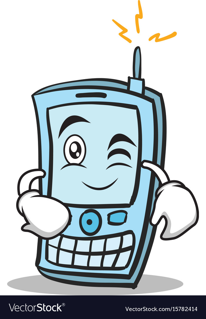 Wink face phone character cartoon style vector image