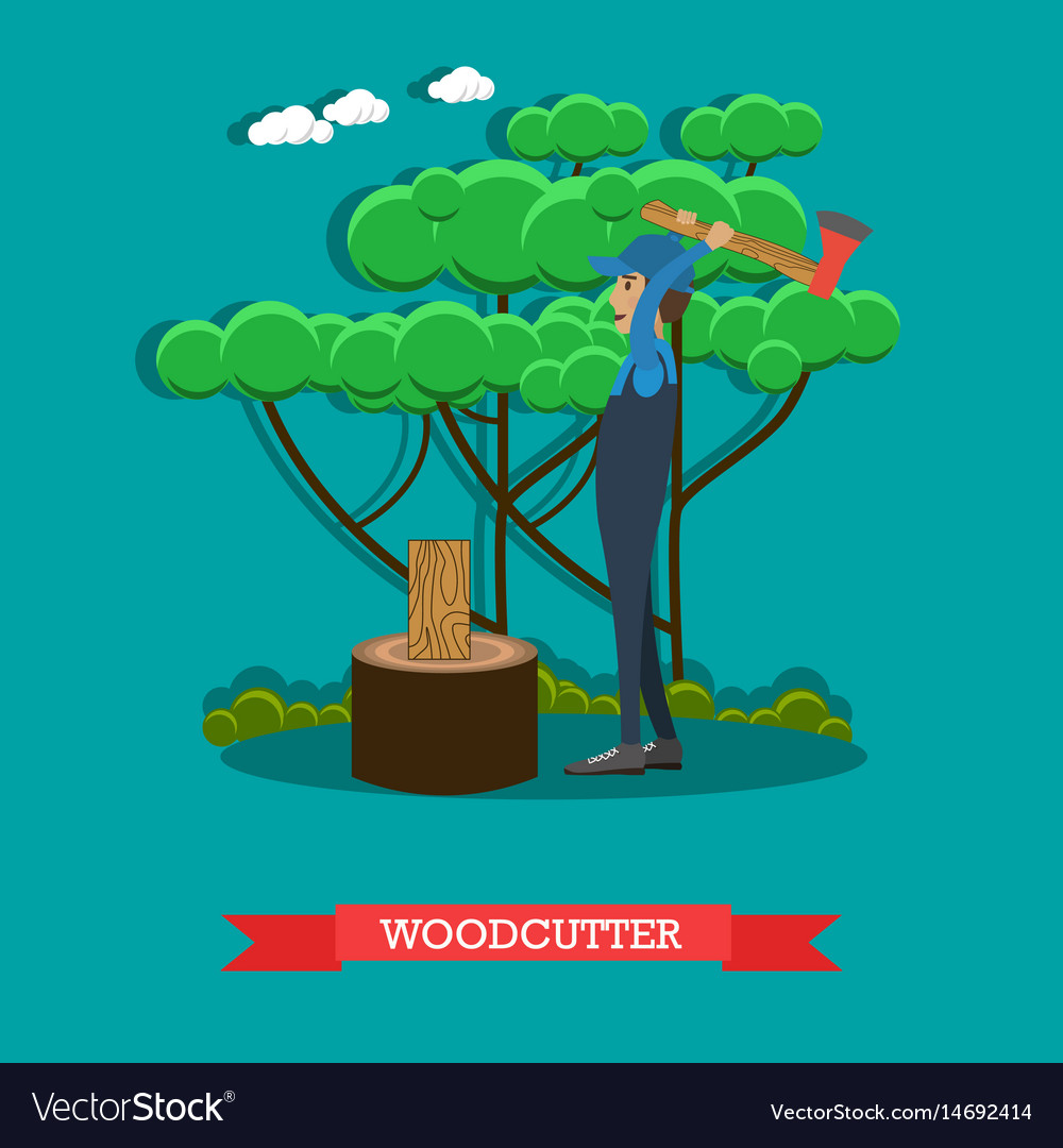 Woodcutter flat in flat style