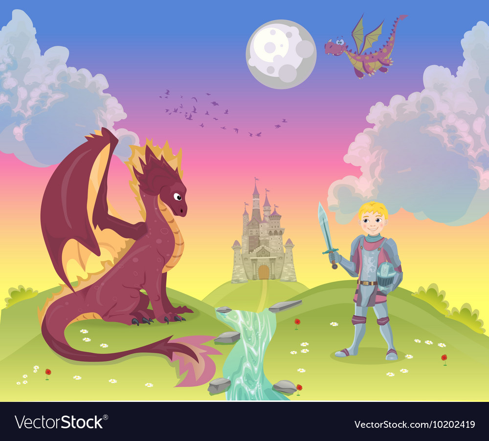Cartoon knight with dragon vector image