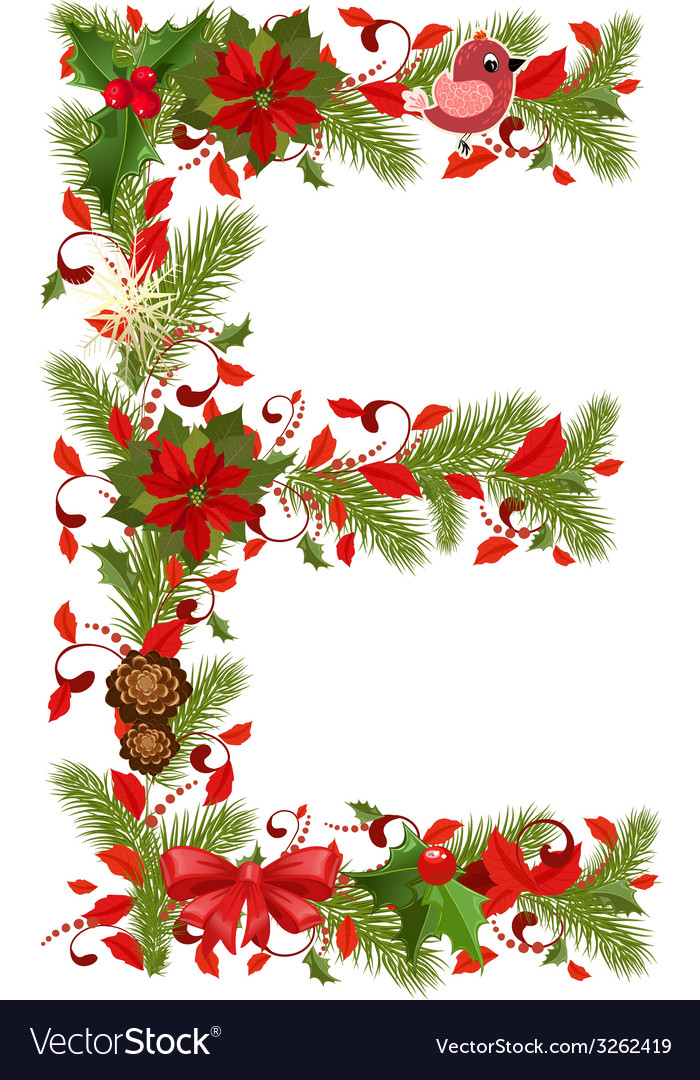 Christmas floral tree letter E