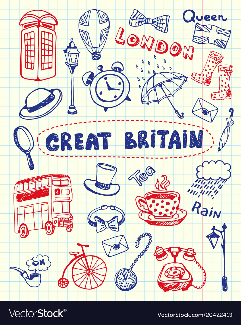 Great britain pen drawn doodles collection