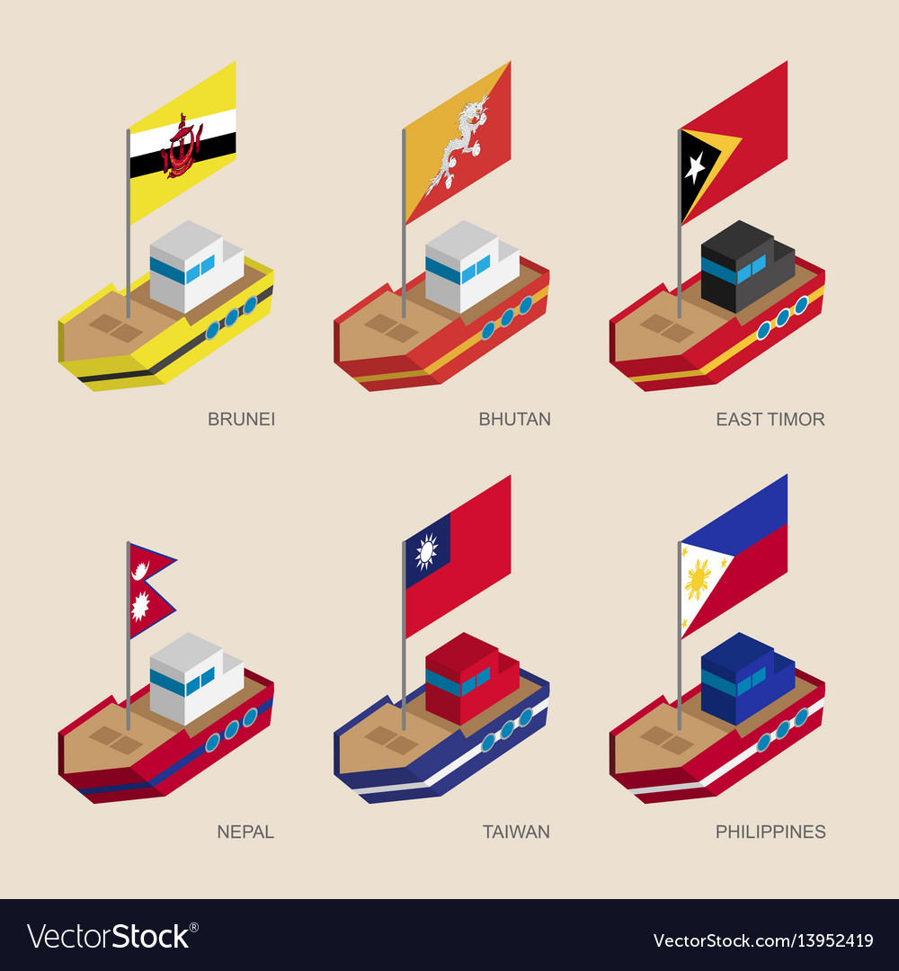 Isometric 3d ships with flags of asian countries