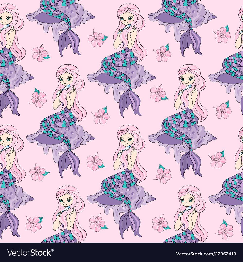 Mermaid sea travel seamless pattern color