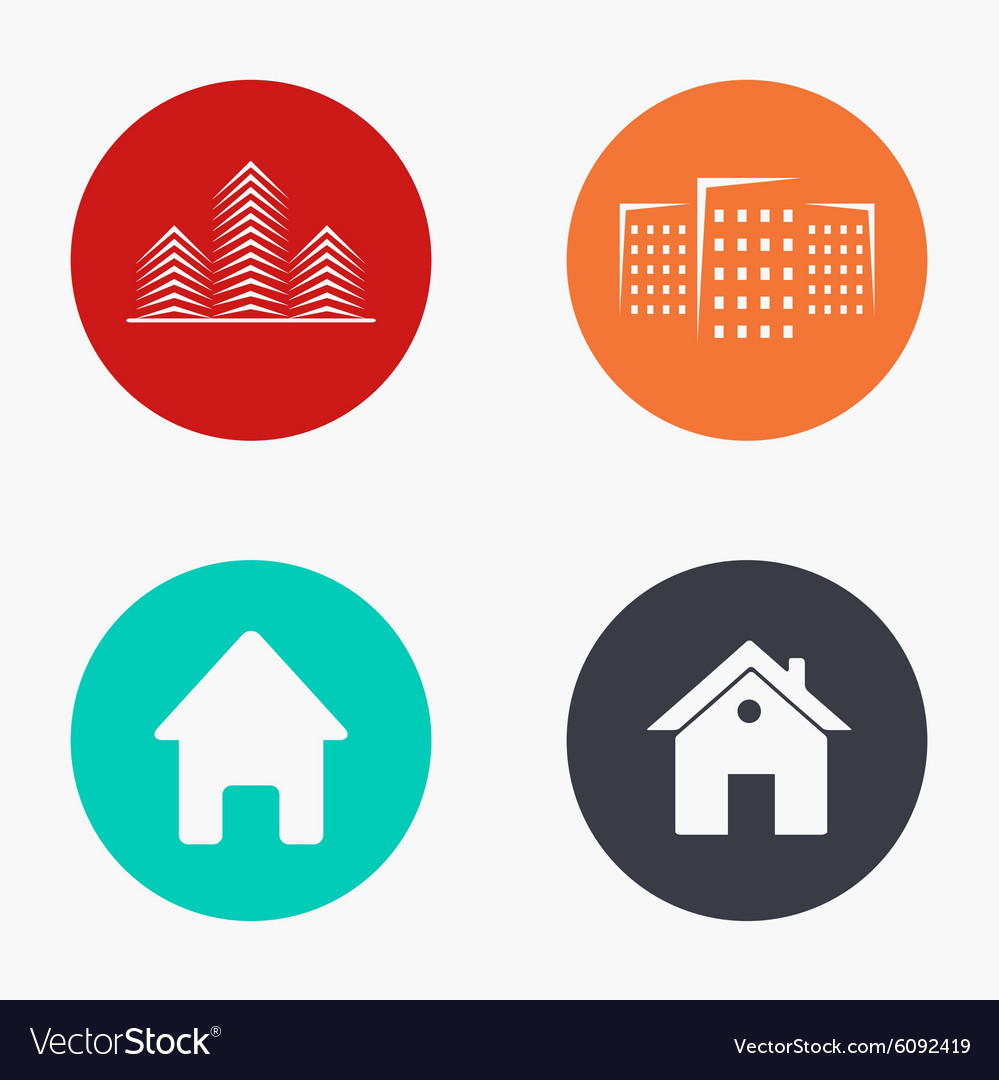 Modern real estate colorful icons set