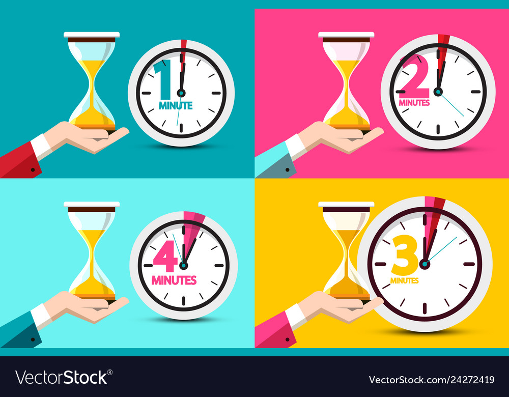 One two three four minutes clock icons time