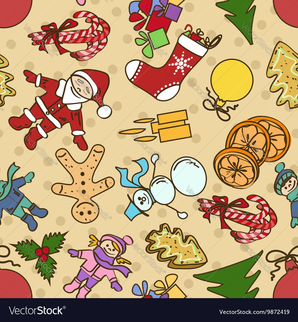 Seamless pattern with symbols of Christmas and New