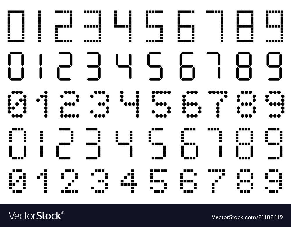 Set of different types of digital numbers