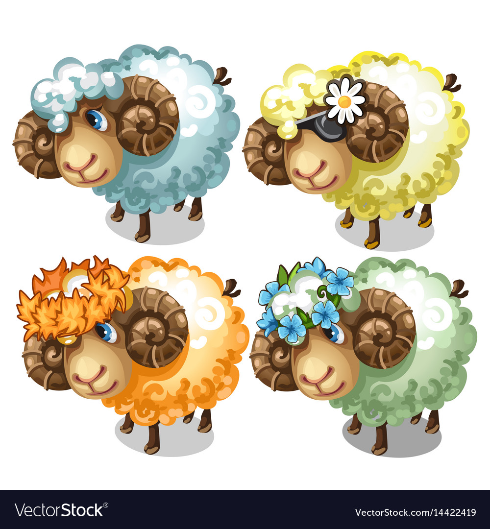 Set of four cartoon sheep with different accessory vector image