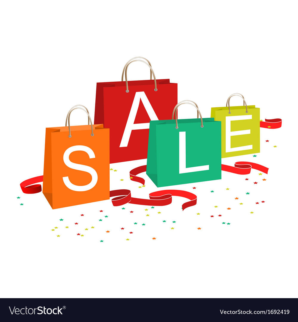 Shopping bags and sale text