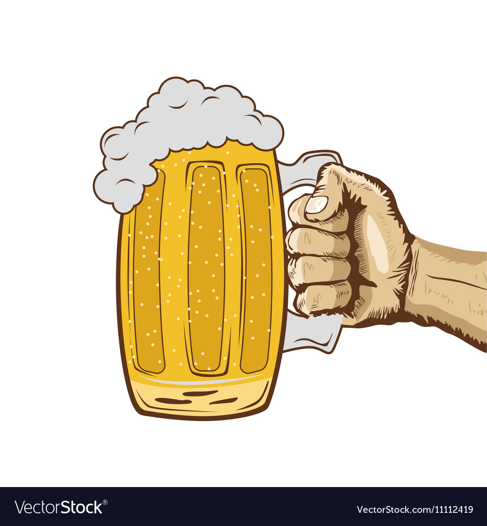 Sketch of hand holding mug of beer vector image