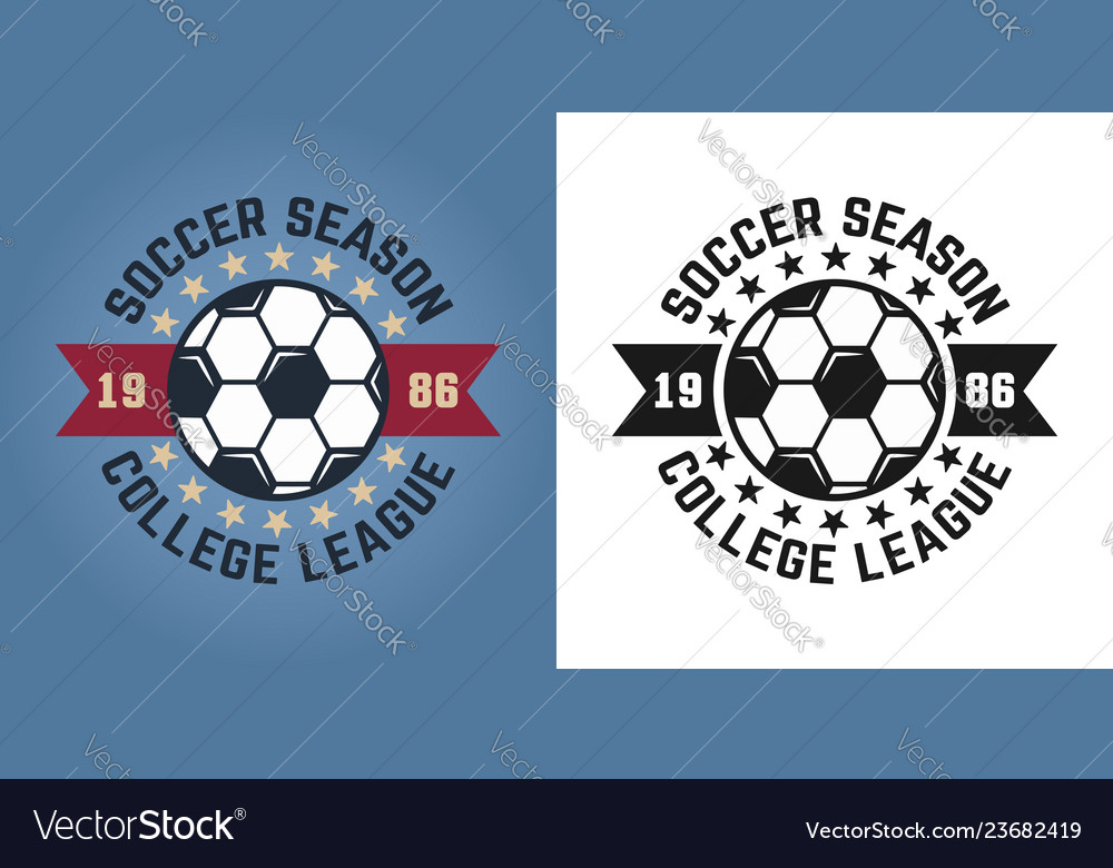 Soccer season two emblems for college team