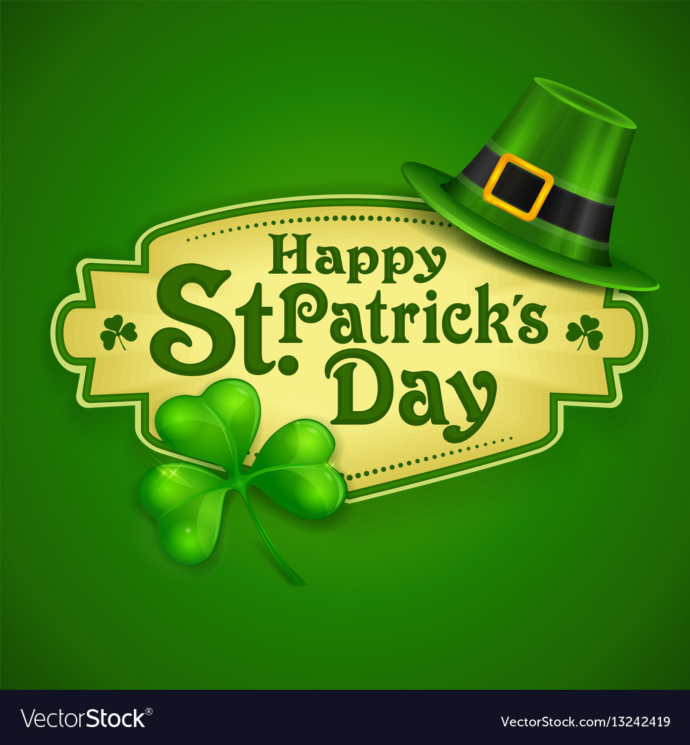 6183cae3 St patrick day green poster Royalty Free Vector Image