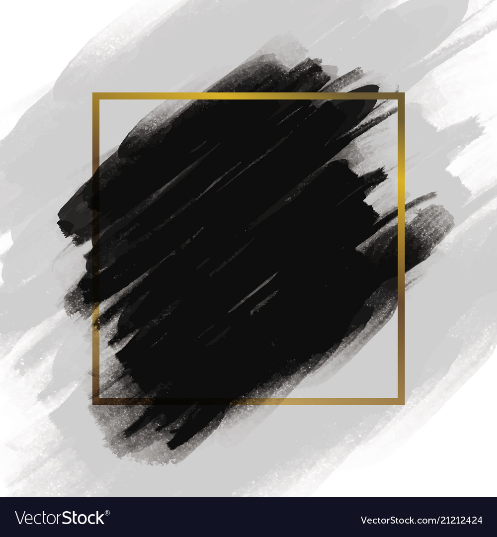 4f798612486d Black brush stroke with gold frame Royalty Free Vector Image