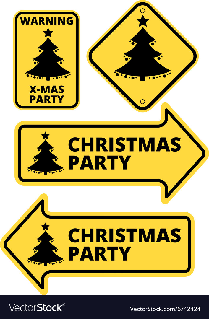 Christmas Arrow Signs.Christmas Party Humourous Yellow Road Arrow Signs
