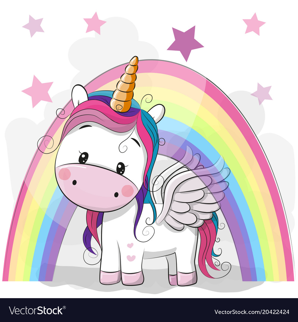 Cute cartoon unicorn and rainbow Royalty Free Vector Image