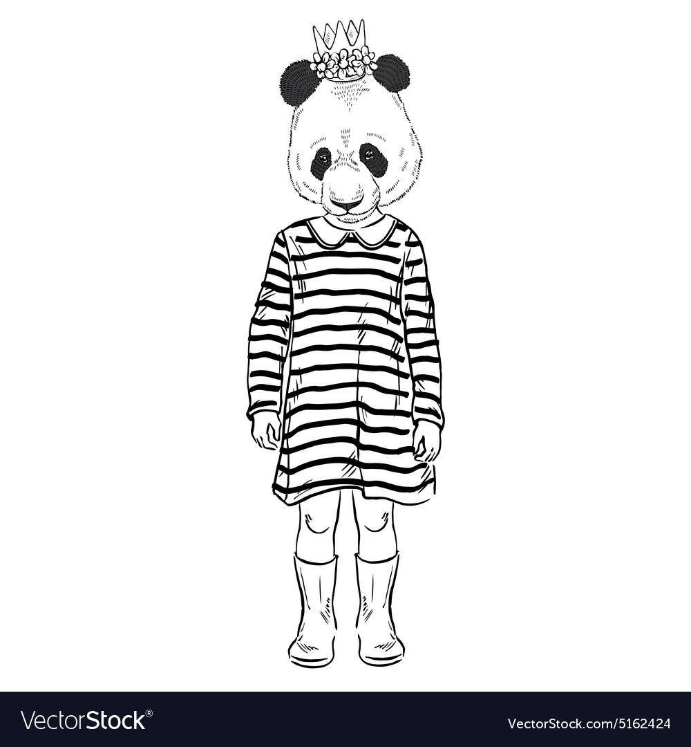 Fashion of cute panda girl kid vector image