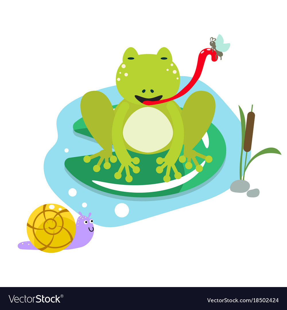 Frog eating moth on pond cartoon clipart