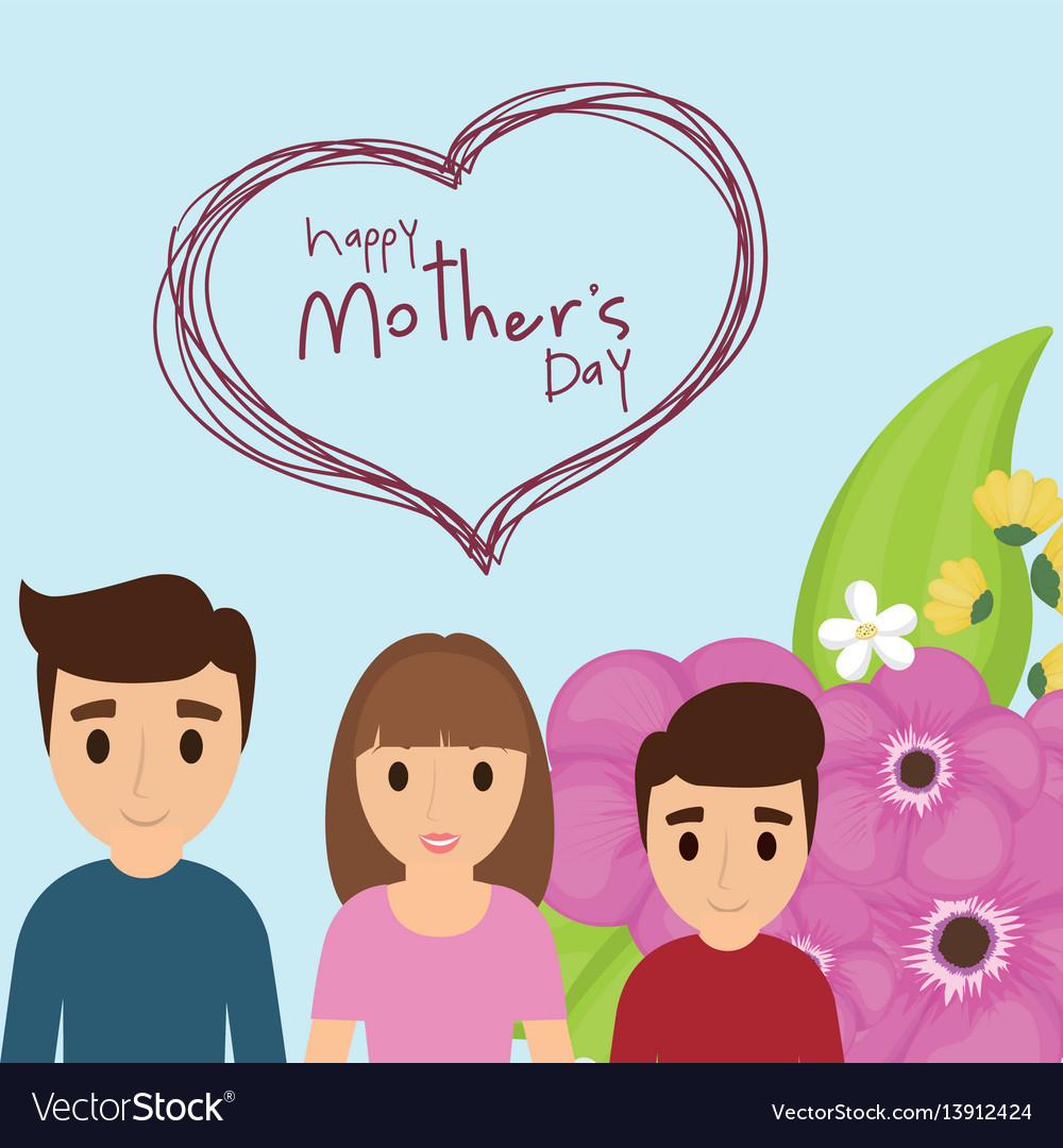 Happy mothers day family celebration flower vector image