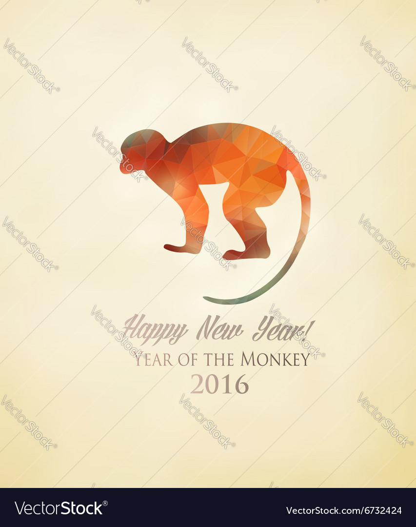 Happy new year 2016 background with a monkey made