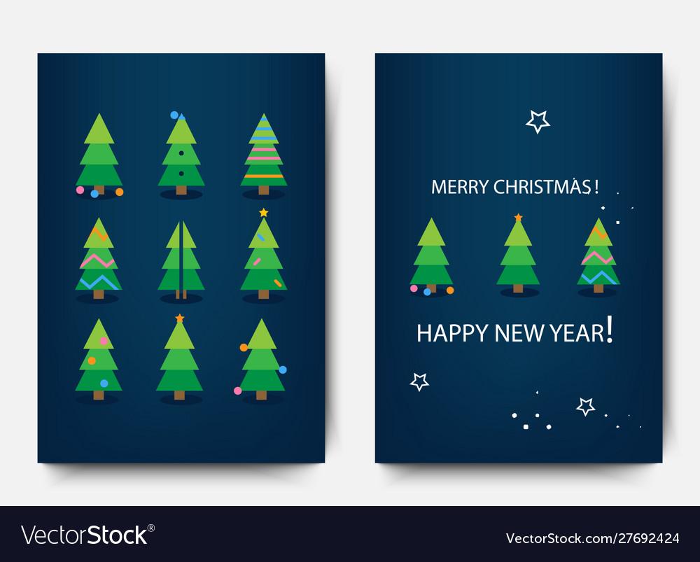 Merry christmas template set holiday xmas trees