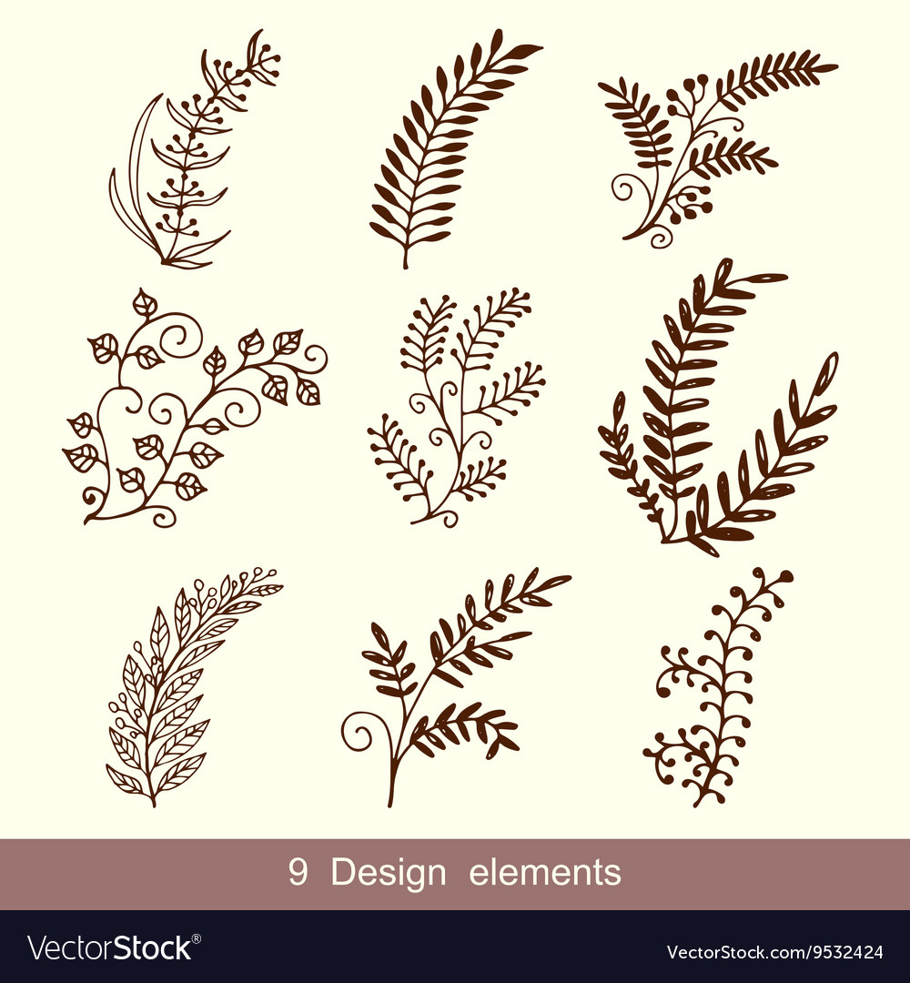 Set of Hand Drawn Doodle Design Elements