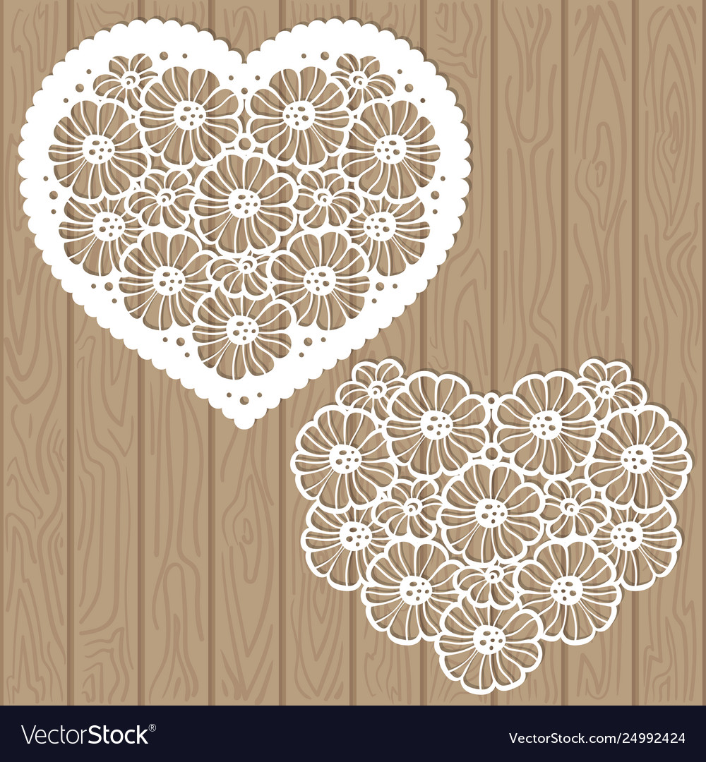Template for laser cutting heart flowers