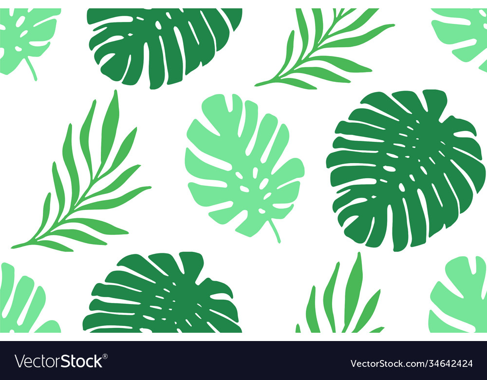 Tropical palm leaves seamless pattern
