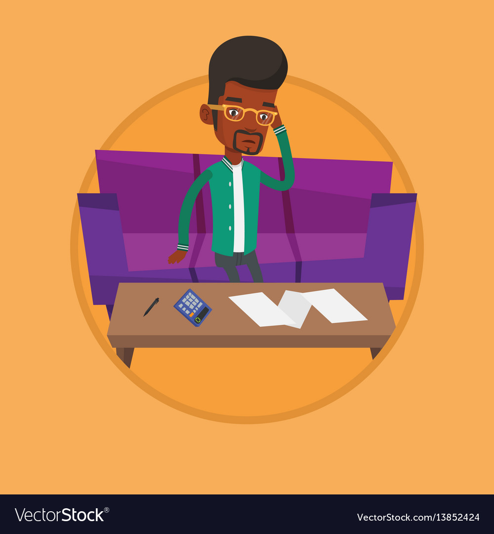 Unhappy african-american man accounting home bills vector image